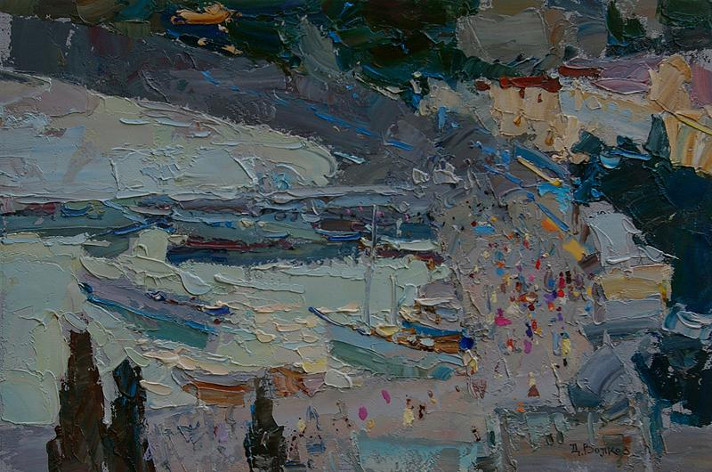 Daniil Volkov. 'Port at Yalta'. Oil on board, 2013. 20 x 30 cm. Image courtesy of The Japanese Print Shop, York.
