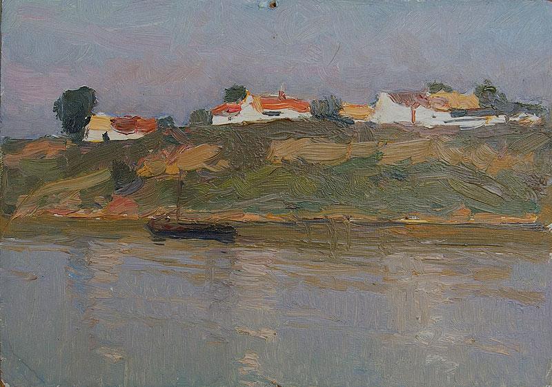 Village by river Petr STOLYARENKO