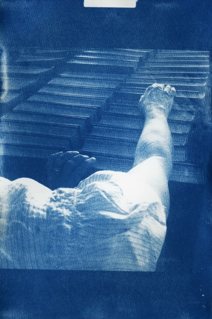 Sharon Harvey, 'Reach'. Cyanotype, 2014. Copyright the artist.